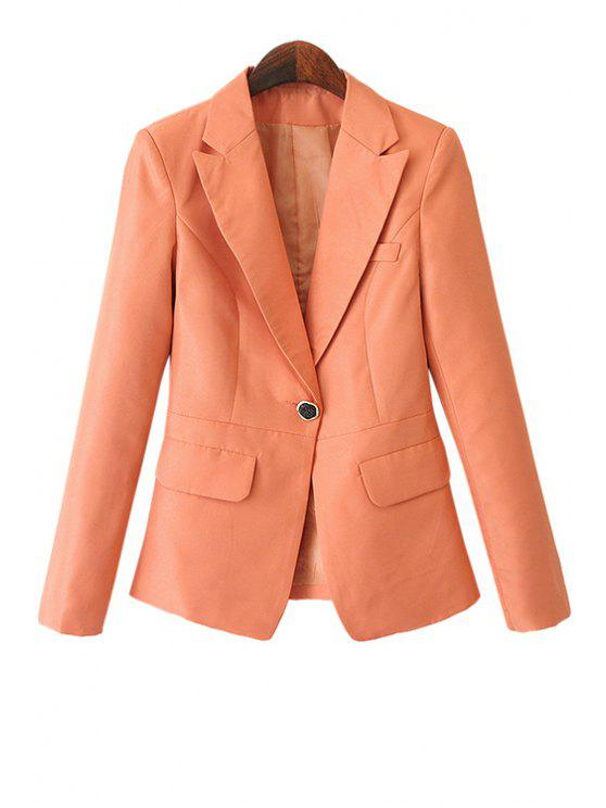 lady Solid Color Pockets Blazer - ORANGE S