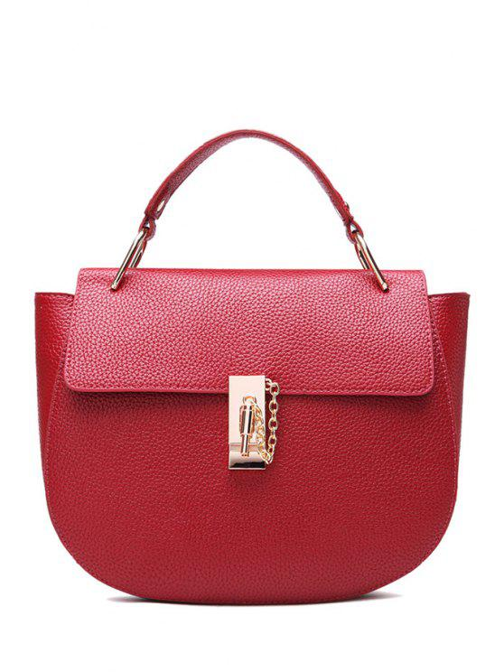 outfit Metallic Chain PU Leather Crossbody Bag - CLARET