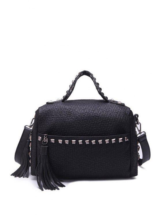 womens Tassels Rivets Black Zipper Crossbody Bag - BLACK
