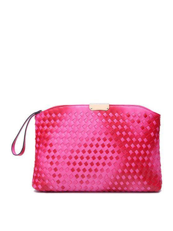 women's Gradient Color Weaving Metallic Clutch Bag - ROSE