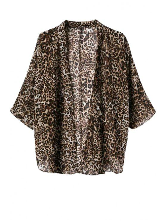 ladies Leopard Pattern 3/4 Sleeve Coat - LEOPARD S