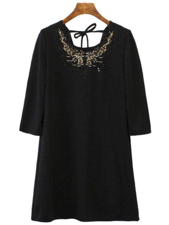 new Floral Pattern Sequins 3/4 Sleeve Dress - BLACK S