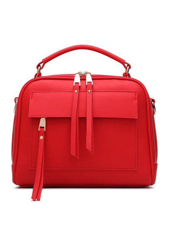 latest Tassels PU Leather Solid Color Tote Bag - RED