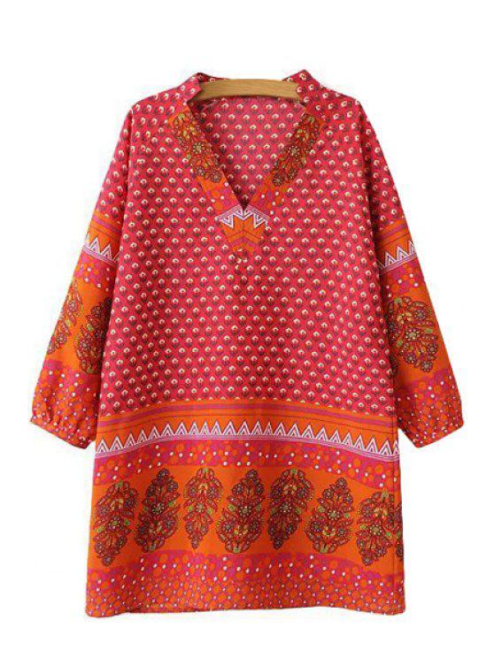 fashion V-Neck 3/4 Sleeve Floral Print Dress - RED S