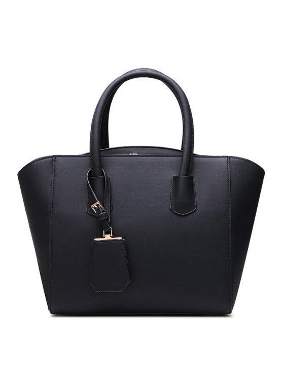 best Pendant PU Leather Zipper Tote Bag - BLACK