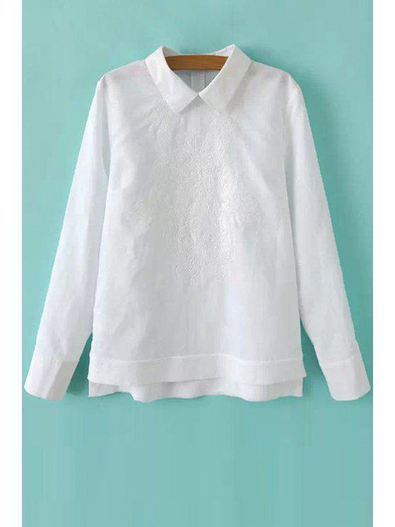 shops Solid Color Embroidery Long Sleeve Shirt - WHITE S