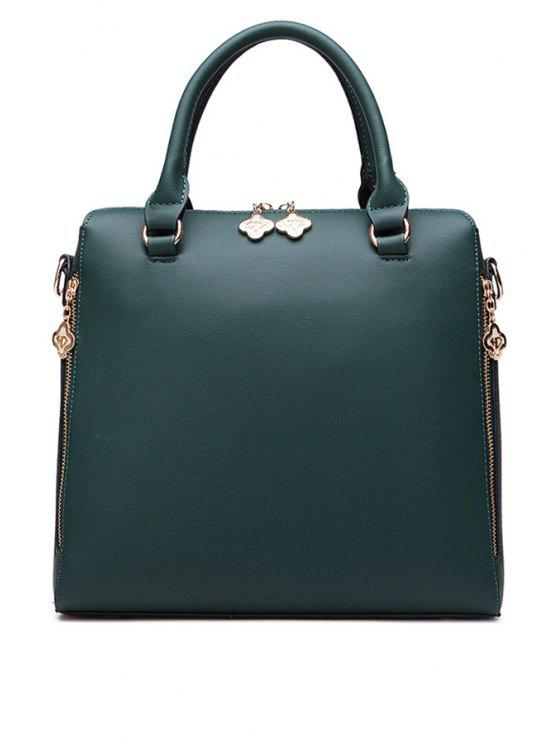 buy Solid Color PU Leather Zippers Tote Bag - GREEN