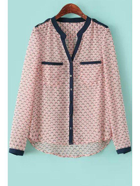 women Print Asymmetrical Long Sleeve Shirt - PINK L