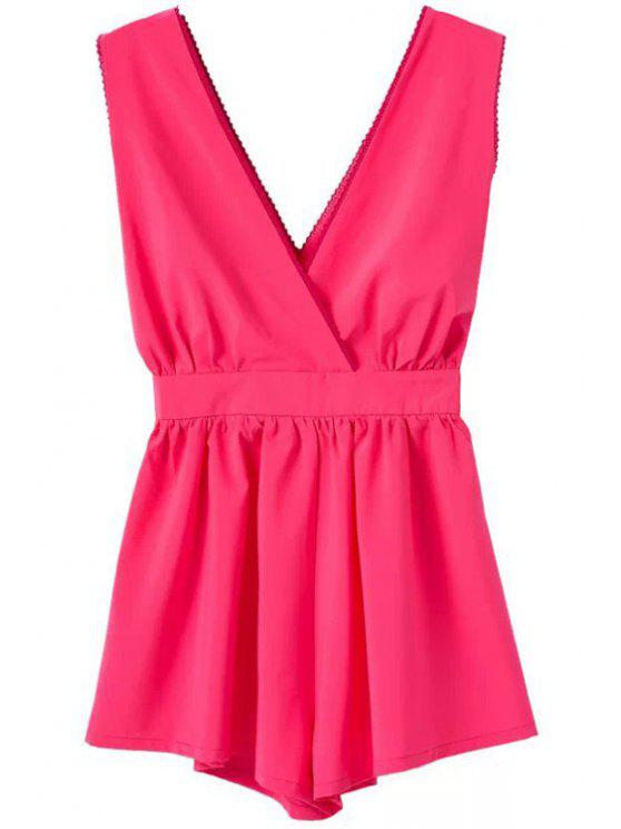 outfits V-Neck Backless Ruffle Sleeveless Jumpsuit - PLUM S