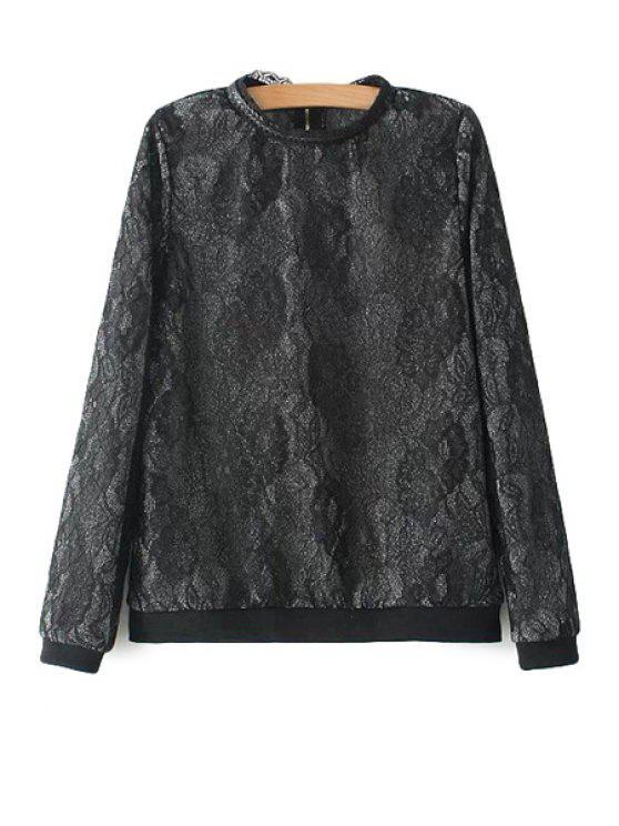 latest Round Neck Floral Pattern Sweatshirt - BLACK S