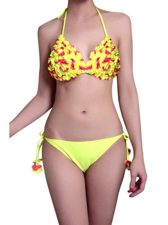 lady Stereo Flower Halter Bikini Set - YELLOW S