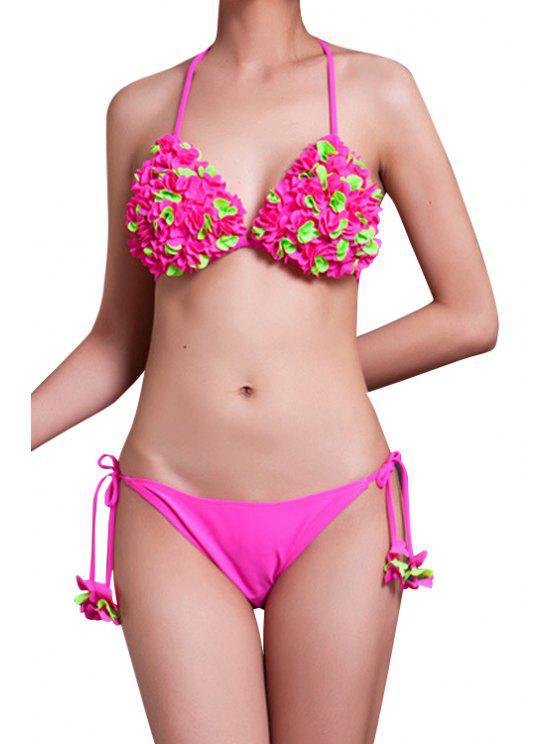 hot Stereo Flower Halter Bikini Set - PINK M