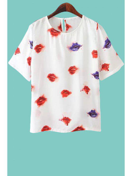 fashion Lips Print Short Sleeve T-Shirt - WHITE M