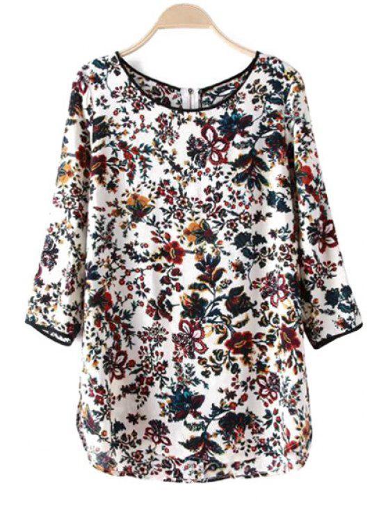 39% off] 2019 floral print back zipper t shirt in white zaful
