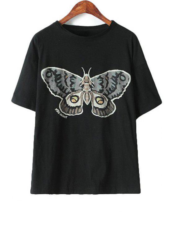 best Butterfly Print T-Shirt - BLACK S