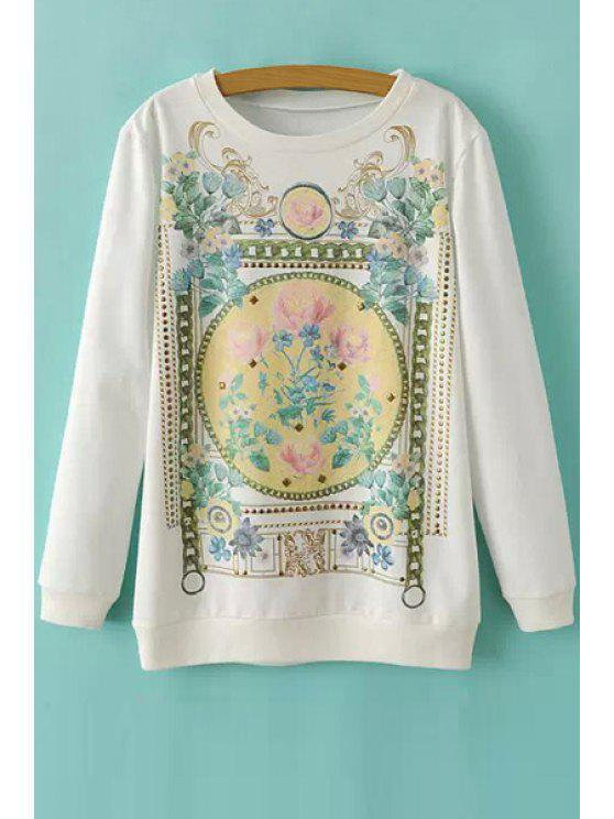 chic Floral Print Sequins Long Sleeve Sweatshirt - WHITE S