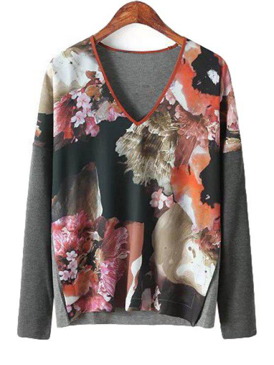 chic Splicing Floral Print Long Sleeve Shirt - JACINTH M