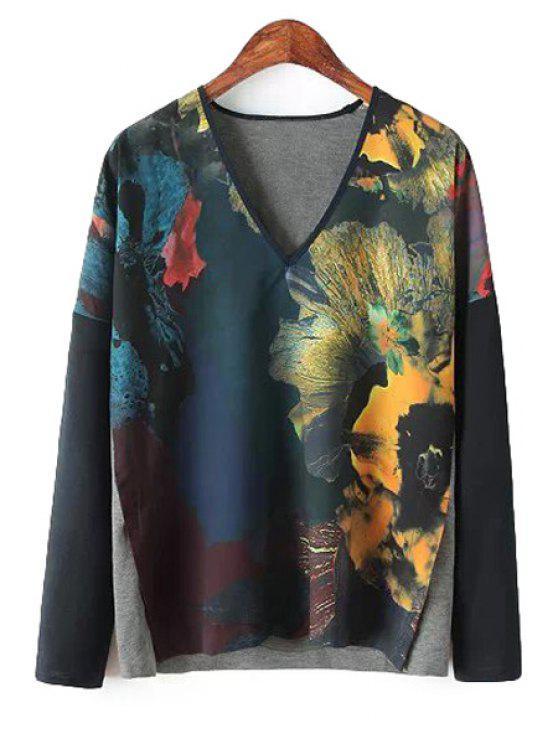 online Splicing Floral Print Long Sleeve Shirt - CADETBLUE M