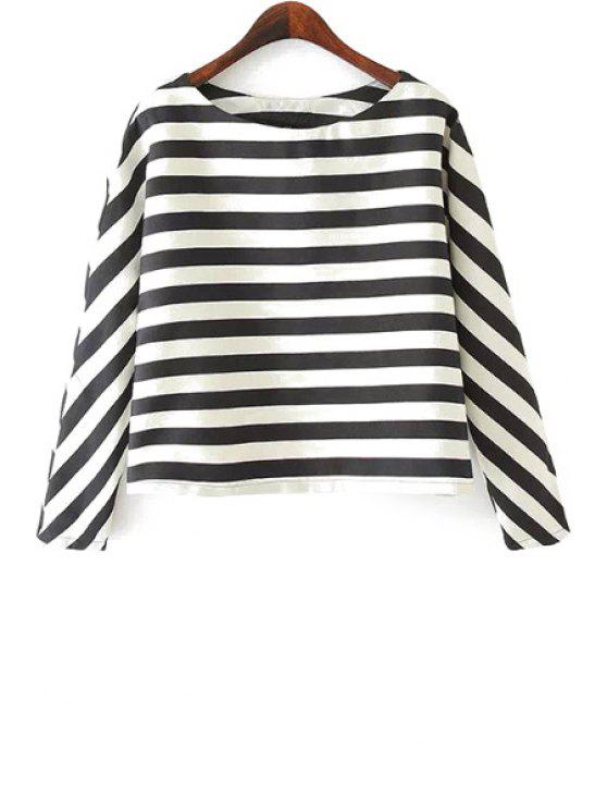 hot Stripe Long Sleeve T-Shirt - WHITE AND BLACK S