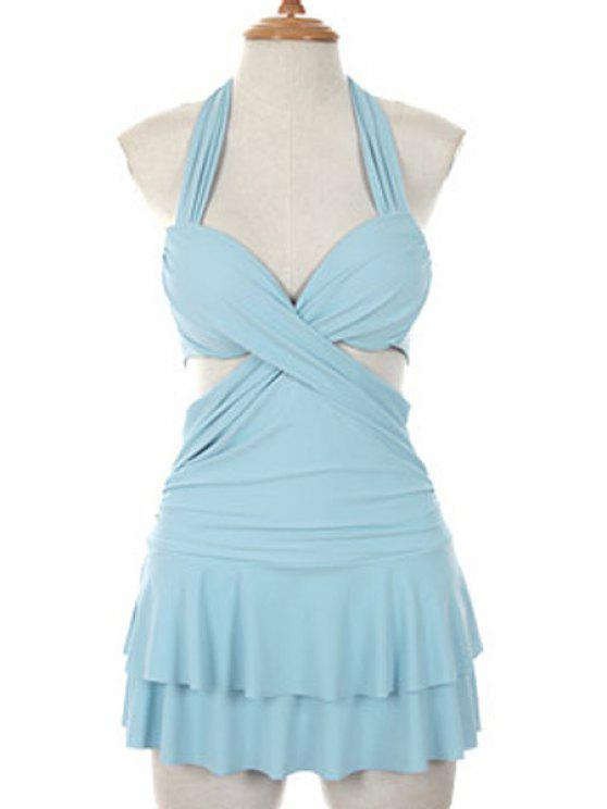 shops Solid Color Halterneck One-Piece Swimwear - LIGHT BLUE L
