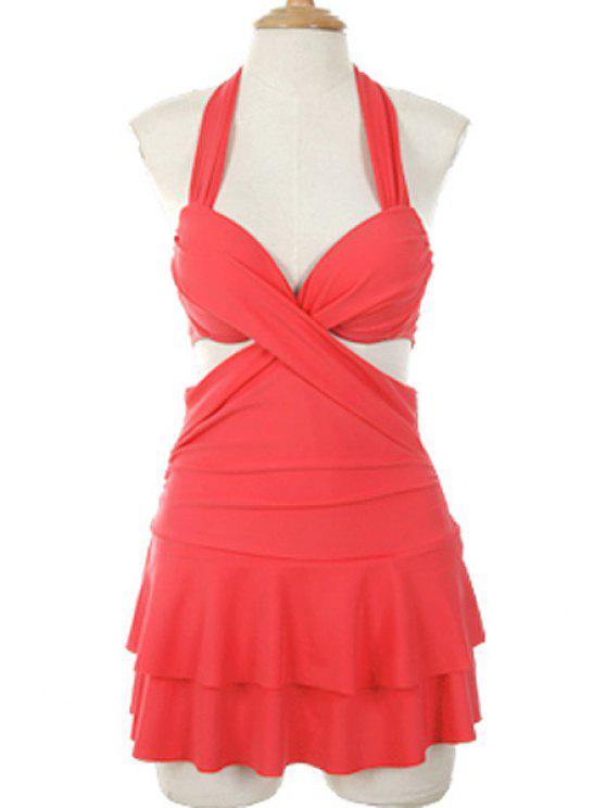 lady Solid Color Halterneck One-Piece Swimwear - WATERMELON RED M