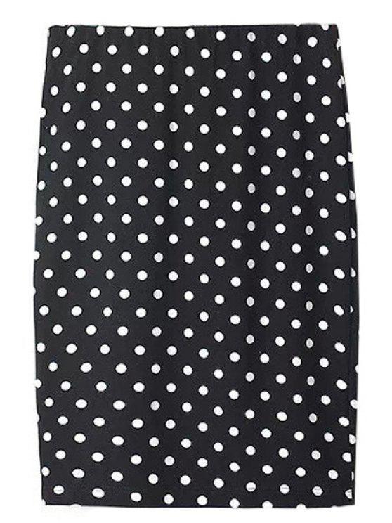 best Polka Dot Straight Skirt - WHITE AND BLACK S