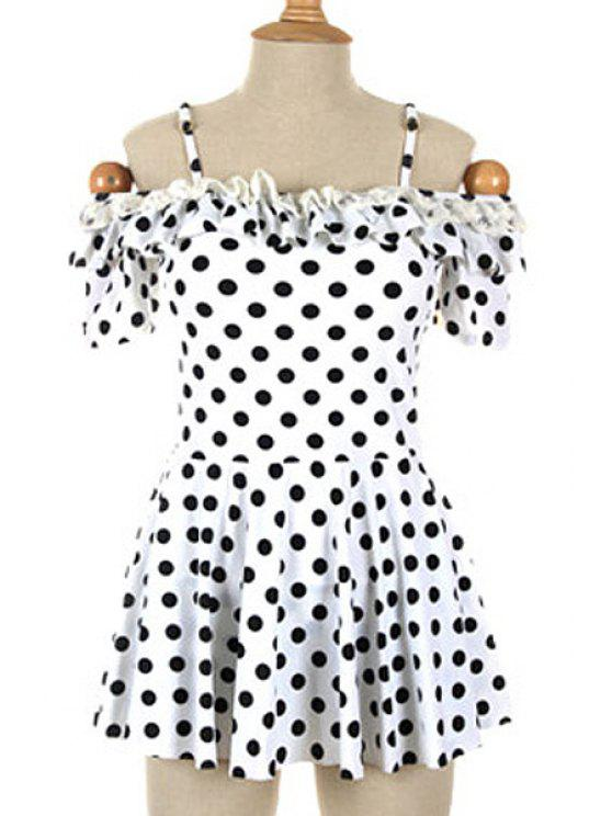 sale Polka Dot Spaghetti Straps One-Piece Swimwear - WHITE XL