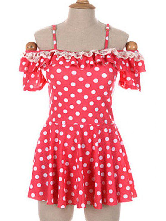 womens Polka Dot Spaghetti Straps One-Piece Swimwear - PINK L