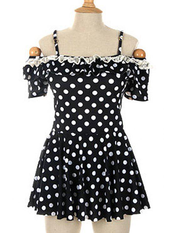 women's Polka Dot Spaghetti Straps One-Piece Swimwear - BLACK M
