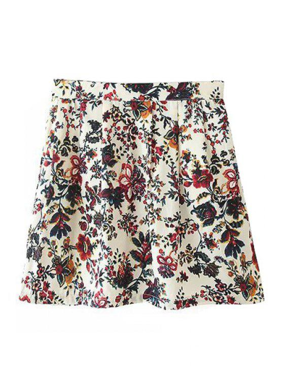 trendy Ruffle Floral Print Skirt - COLORMIX S