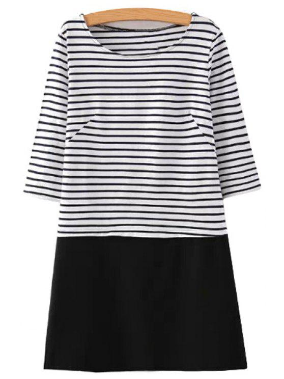 outfit Splicing Stripe 3/4 Sleeve Dress - WHITE AND BLACK S