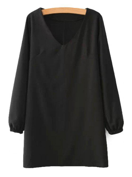 women Solid Color Ruffle Long Sleeve Dress - BLACK S
