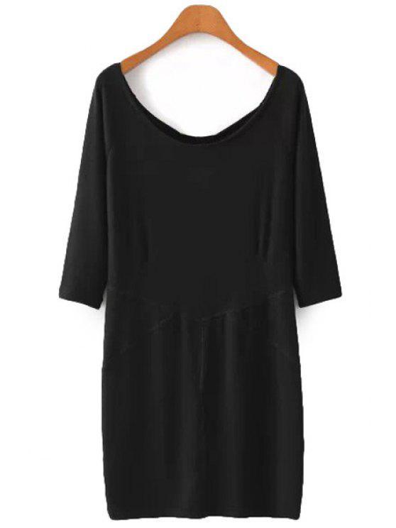 latest Scoop Neck Solid Color 3/4 Sleeve Dress - BLACK S