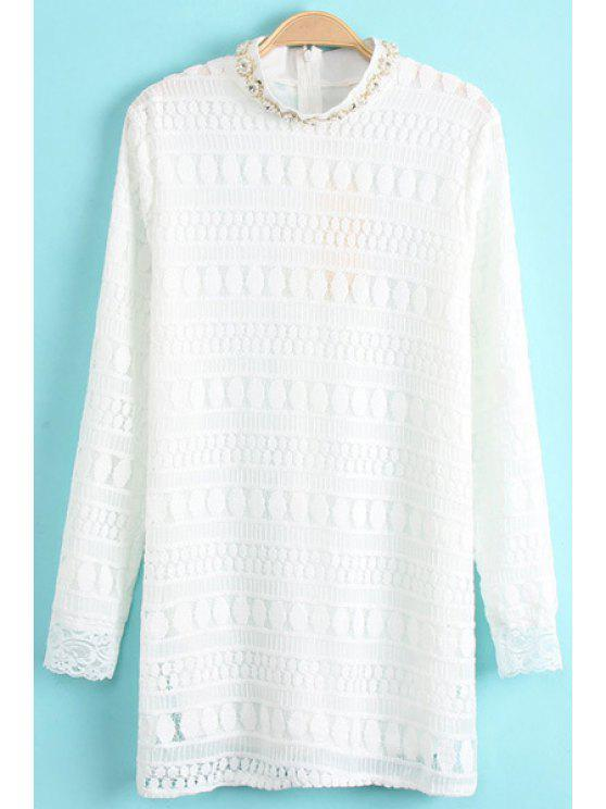 ladies CaFaux Pearl Lace Long Sleeve Dress - WHITE ONE SIZE(FIT SIZE XS TO M)