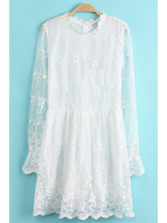 best Stand-Up Collar See-Through Lace Dress - WHITE S