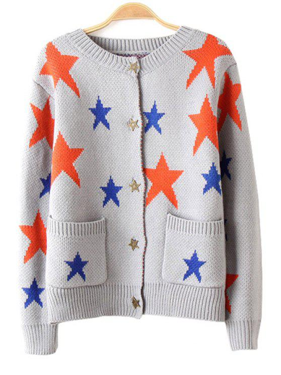 women Star Pattern Pockets Long Sleeve Cardigan - GRAY S