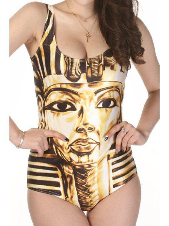 outfits Pharoah Print One-Piece Swimwear - YELLOW ONE SIZE(FIT SIZE XS TO M)