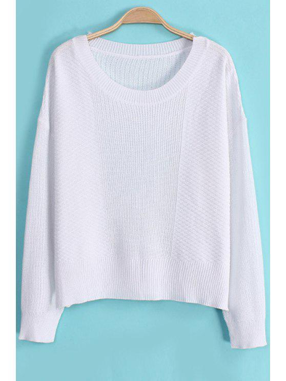 affordable Solid Color Side Slit Long Sleeve Sweater - WHITE M