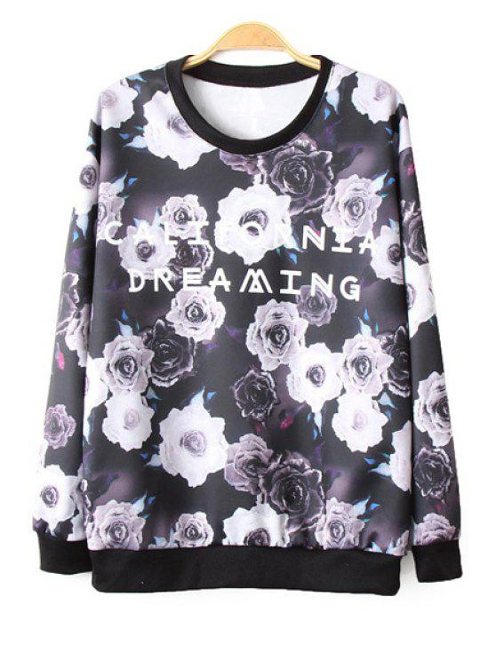 best Floral and Letter Print Long Sleeve Sweatshirt - COLORMIX L