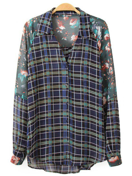 women's Floral Print Plaid Long Sleeve Shirt - COLORMIX S