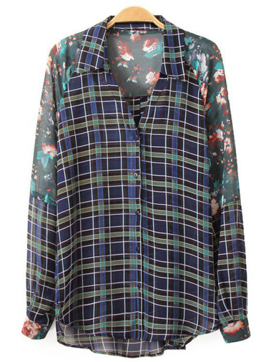 women's Floral Print Plaid Long Sleeve Shirt - COLORMIX S