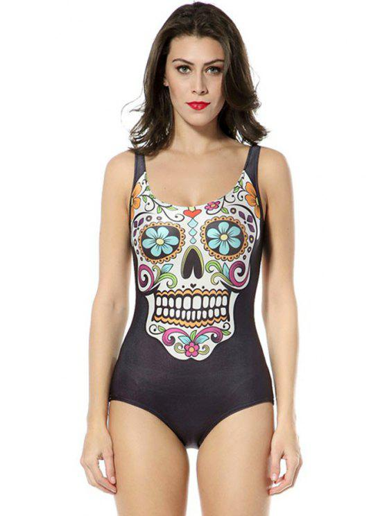 lady Flower Skull Print One-Piece Swimwear - BLACK ONE SIZE(FIT SIZE XS TO M)