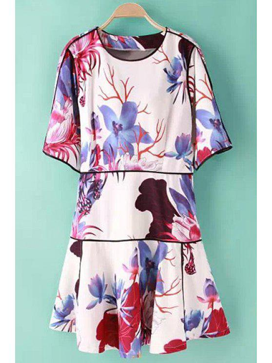 outfits Floral Print Splicing Half Sleeve Dress - COLORMIX S