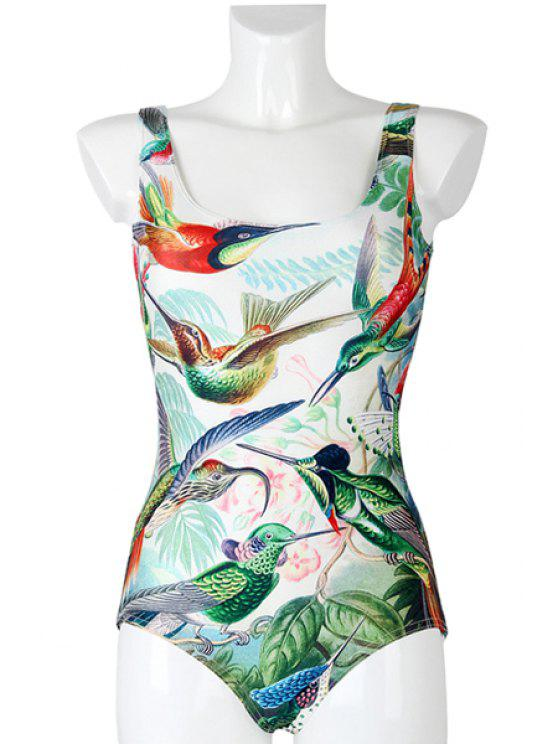 unique Bird Print One-Piece Swimwear - GREEN ONE SIZE(FIT SIZE XS TO M)