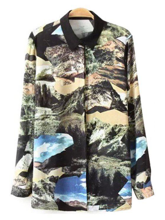 women Scenery Print Long Sleeve Shirt - COLORMIX L