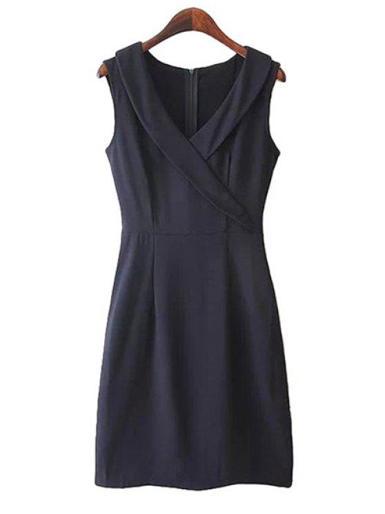 women V-Neck Sleeveless Solid Color Dress - CADETBLUE S