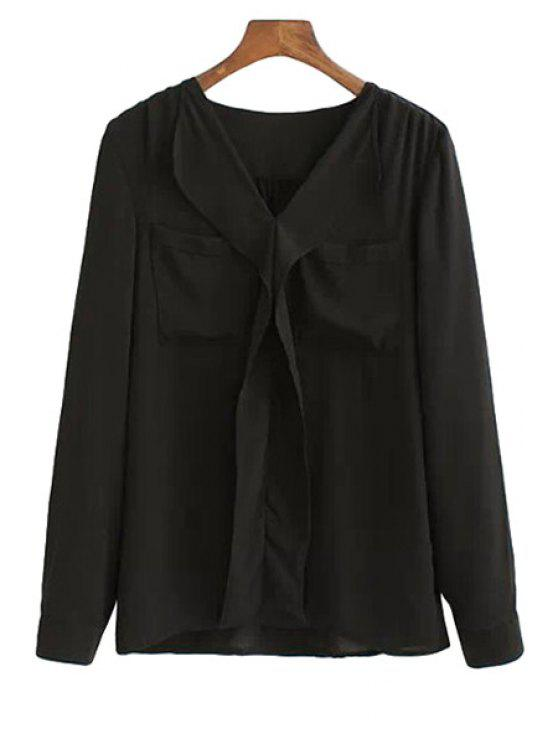 lady V-Neck Solid Color Shirt - BLACK S