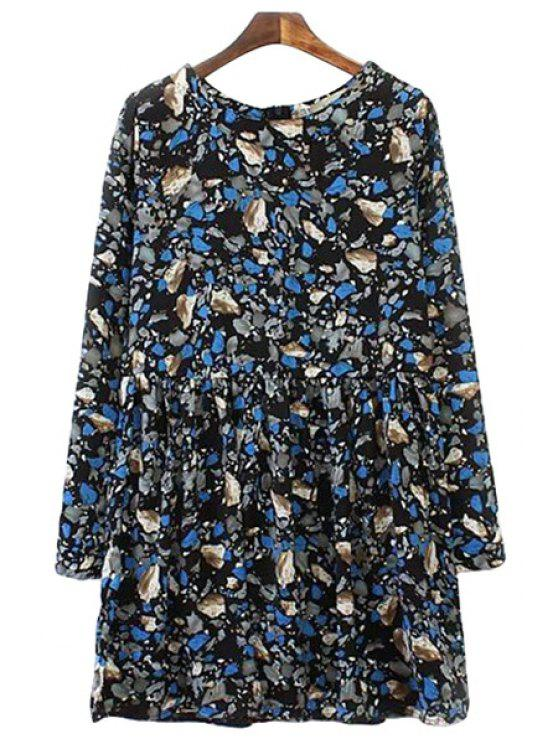 chic Print Long Sleeves Dress - BLACK S