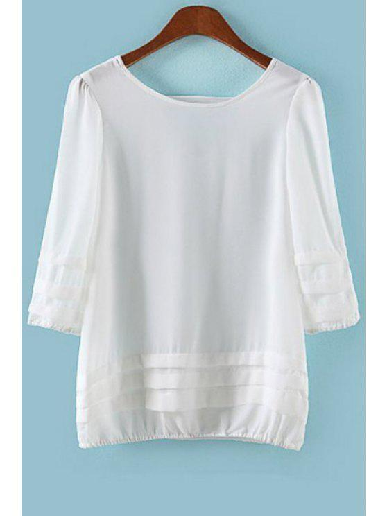 new Solid Color 3/4 Sleeve Chiffon Blouse - WHITE S