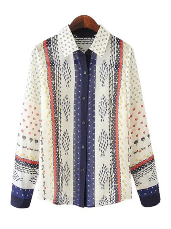 chic Print Splicing Long Sleeve Shirt - BEIGE S